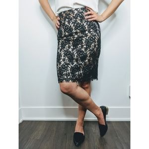 Banana Republic Lace Midi Pencil Skirt